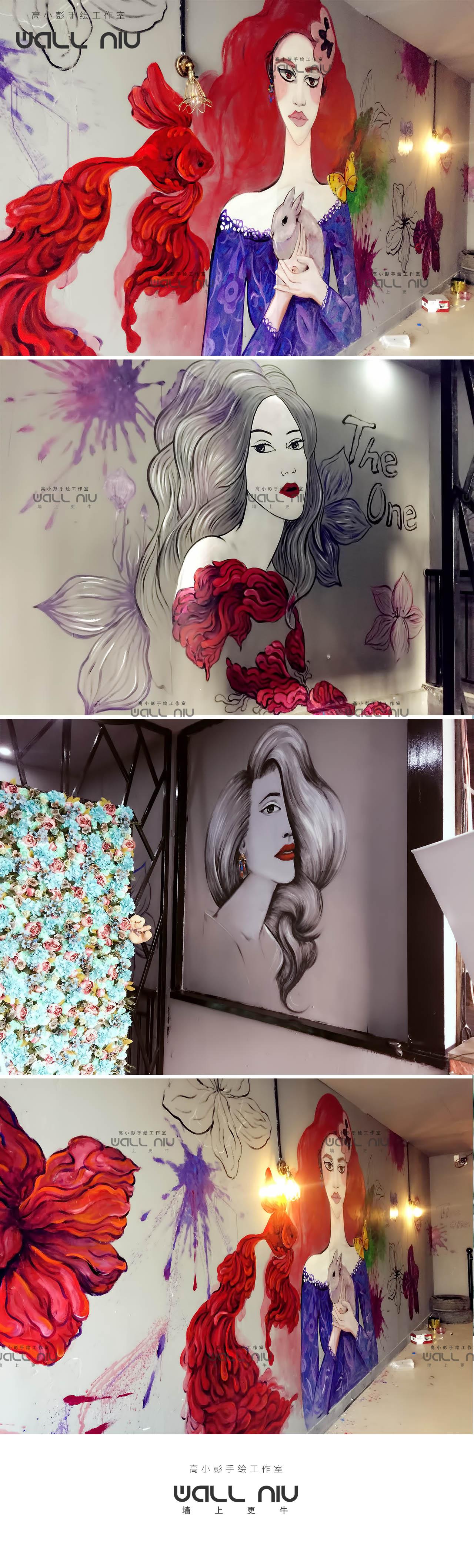 理发店墙绘-高小彭手绘|邢台彩绘|墙绘